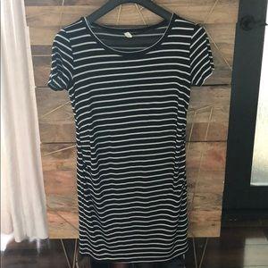Black striped t shirt dress